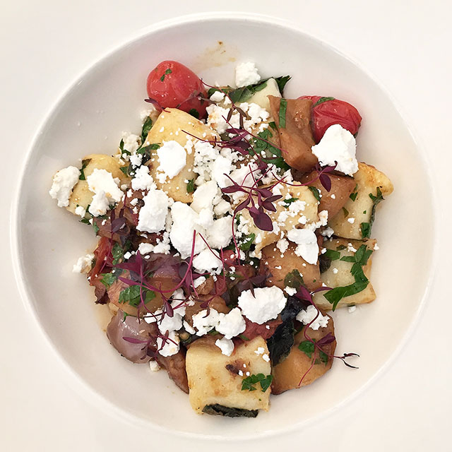 Ricotta gnocchi alla Norma with Vulscombe goats cheese