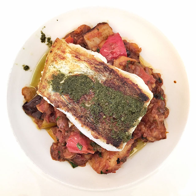 Crispy fillet of salted hake with cianfotta and salmoriglio