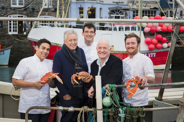 Celebrity chefs come together to celebrate Padstow Christmas Festival.  From left to right: Paul Ainsworth, Brian Turner, Stephane Delourme, Rick Stein, and Jack Stein.