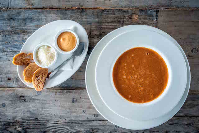 Fish and shellfish soup with roulle and Parmesan Charity lunches at The Seafood Restaurant