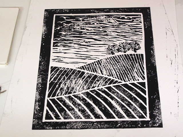 6. My second design: wintery ploughed fields and seagulls. Still plenty of room for improvement.
