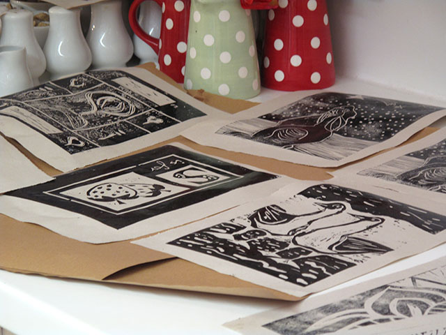 8. A selection of prints drying in the classroom.