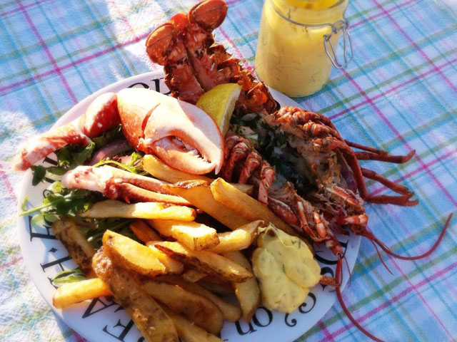 Lobster and chips