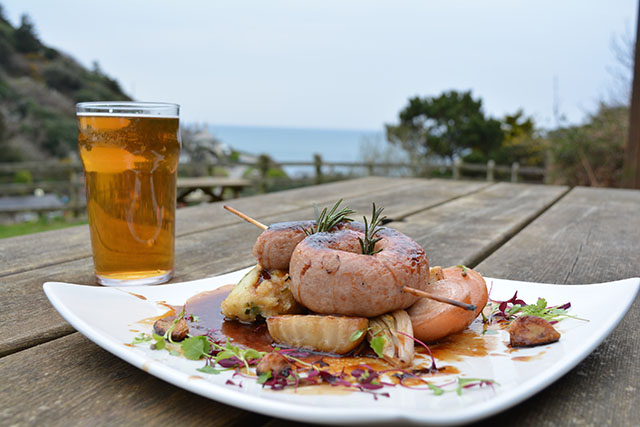 Driftwood Spars sausage and ale