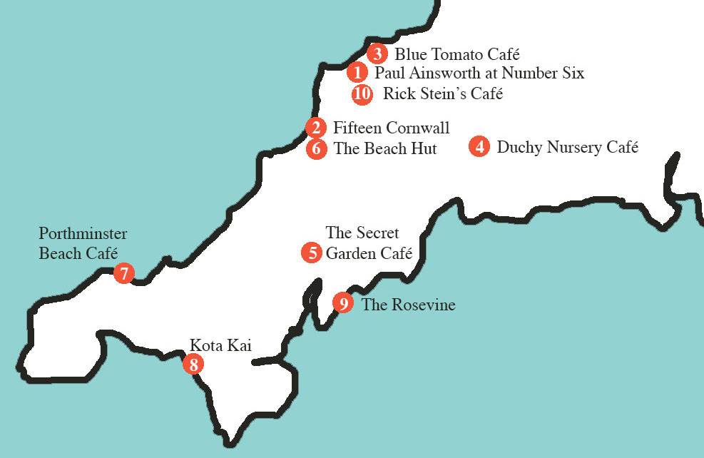 Map of Cornwall showing child-friendly restaurants